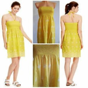 Ex-M-amp-S-YELLOW-WHITE-FLORAL-Embroidered-Strapless-COTTON-Summer-Dress-UK-6-22