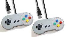 2 x PC USB SNES Classic Style Retro Control Joy Pad Controller Mcolor Buttons UK