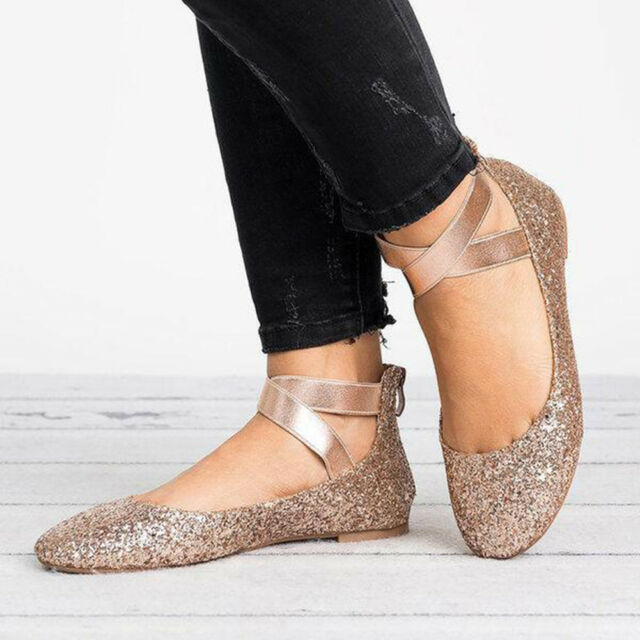 Lady Womens Strap Ballet Shoes Flats Leopard Moccasin Loafer Round Toe Plus Size