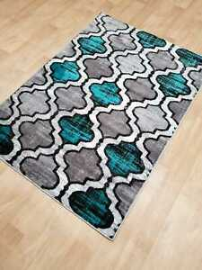 Silver Teal Small Large Rug Carpet Mat Short Pile 10 Mm Pile New Modern Rugs Ebay