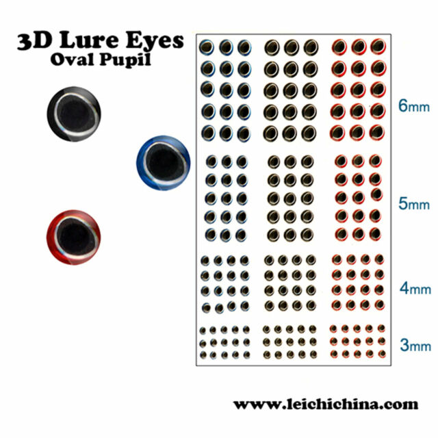 3D Fishing Lure Eyes Sticker 360 Pieces Fly Tying Eyes Size 3/4/5/6
