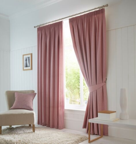 Fusion Dijon Blush Luxury Thermal//Blackout Pencil Pleat Fully Lined Curtains