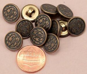 "144 pcs 1 Gross Small Antiqued Brass Tone Metal Buttons 1/2"" Almost 13MM # 6312"