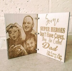 Wooden-Personalised-Father-039-s-Mother-039-s-Day-Birthday-Card-Frame-Gift-Photo-Engrave