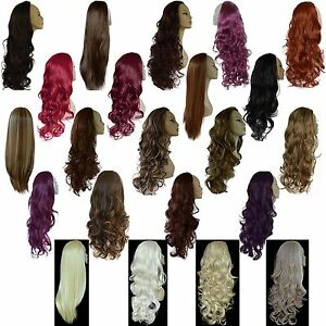 Ladies-3-4-WIG-Fall-Clip-In-Hair-Piece-Extension-Half-3-STYLES-25-SHADES