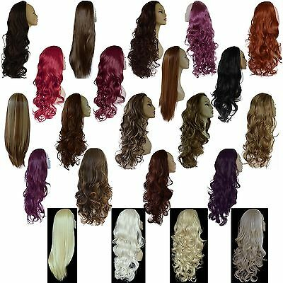 Ladies 3/4 WIG Fall Clip In Hair Piece Extension Half 3 STYLES/25 SHADES