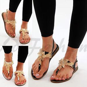 b809cbde037 New Womens Flat Embellished Sandals Toe Post Ankle Strap Flower Leaf ...