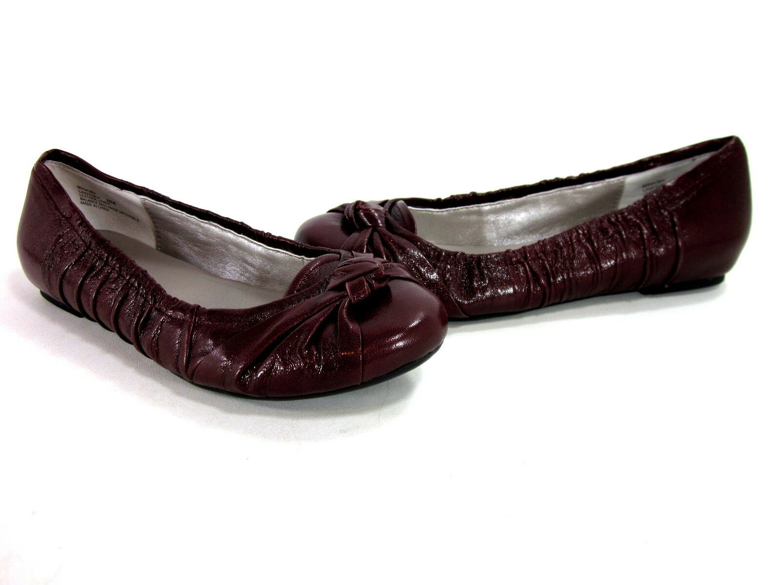 ME TOO LAWTON WOMEN'S COMFORT BALLET FLATS BURGUNDY LEATHER US SIZE 7.5 MEDIUM