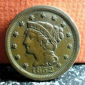 Very Nice Better Grade 1852 Braided Hair Large Cent