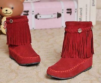Details about  /Womens round toe Bohemia  Fringe Tassel Suede Snow Mid Calf boots 3 color