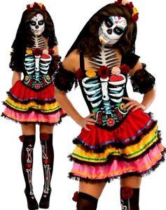 Ladies Day Of The Dead Skeleton Zombie Stockings Halloween Fancy Dress Costume