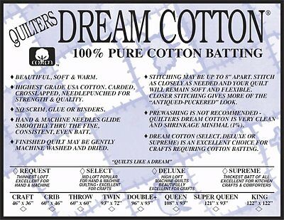 Quilters Dream Batting Natural Cotton Deluxe-Weighty loft~Throw Size