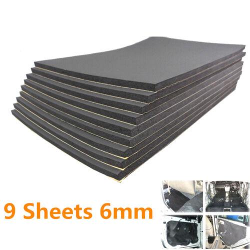 9 Pcs 6mm Self Adhesive Car Sound Proofing Deadener Foam Pad Insulation Black