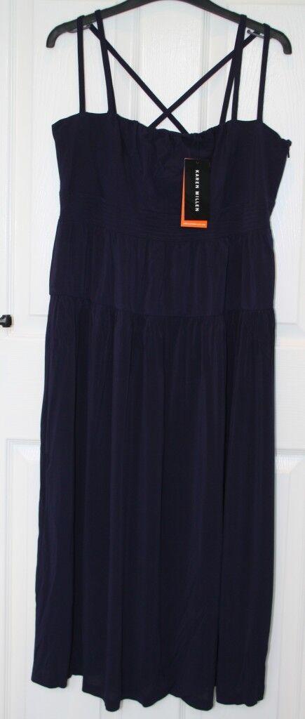 BNWT -  - Authentic Karen Millen Dark Navy bluee Strappy Dress - 14