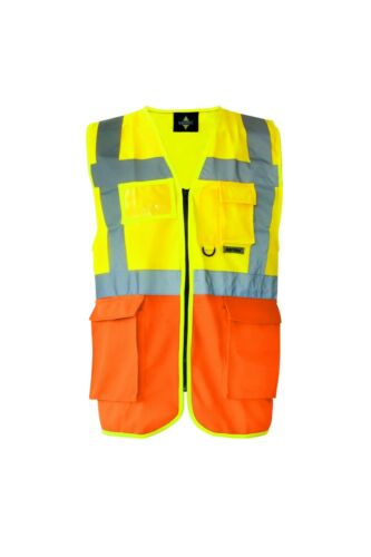 S-5XL Personalised Custom Printed Hi Vis Executive Vest Zip Up Phone ID Pockets