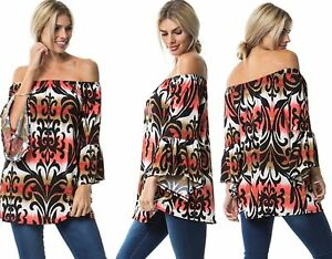 44512da968c Women Off The Shoulder Floral Bardot Boho Bell Sleeve Party Tunic ...
