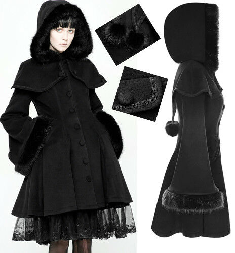 Gothic Lolita Flared Hood Coat Cape Fur Pompom Princess Winter Vintage PunkRave