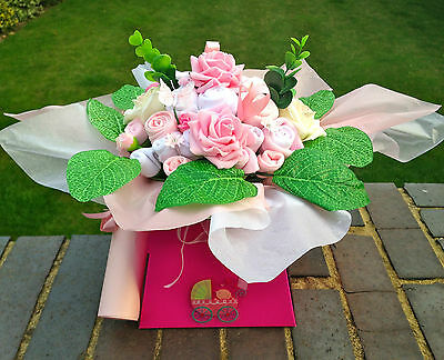 BABY CLOTHES BOUQUET - BABY SHOWER - NAPPY CAKE STYLE GIFT - MANY COLOURS !  NEW