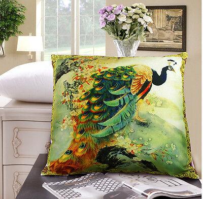 "Elegant peacock design both sides throw pillow / cushion covers 18""x18"" home car"