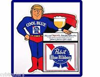 Pabst Cool Blue Beer Man Refrigerator / Tool Box Magnet Man Cave