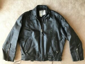 Details zu Rare Vintage Avirex Authentic US Police motorcycle leather jacket leder jacke XL