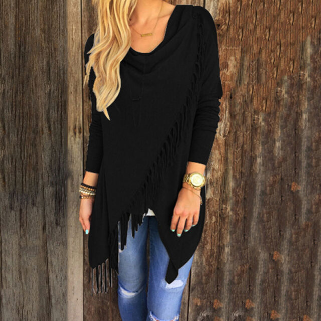 Womens Casual Jumper Tassels Hem Cardigan Tops Sweater Shawl Coat Outwear Blouse