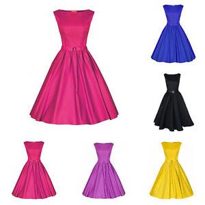 Womens-Vintage-Audrey-Hepburn-Swing-Dress-Boat-Neck-50s-Rockabilly-Party-Dress