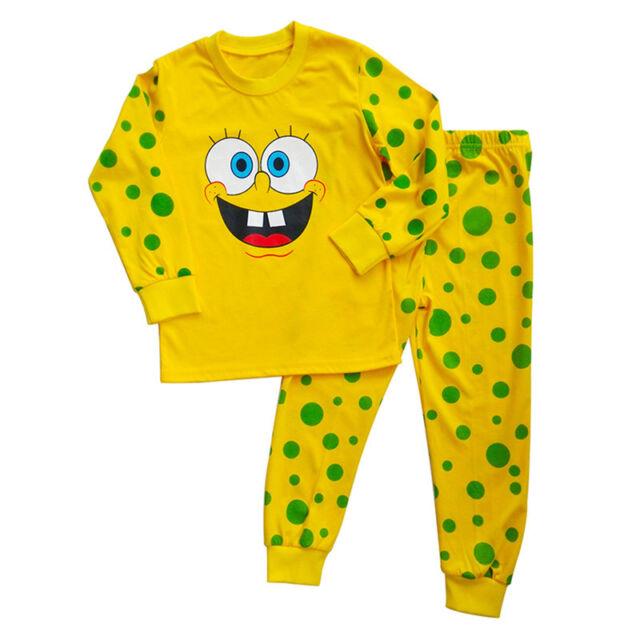 Kids Cute SpongeBob Pyjamas Nightwear Long Sleeve T-shirt +Pants Clothes Set