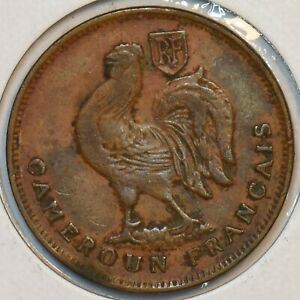 France 1943 Cameroon Franc Rooster animal 296967 combine