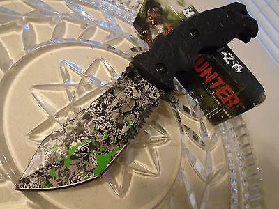 "Z-Hunter Black Skull Assisted Open Zombie Folding Bowie Pocket Knife 114BG 9"" Op"