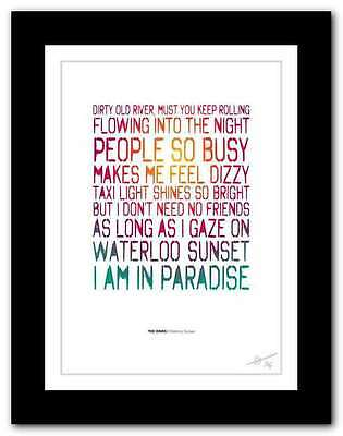 THE KINKS Waterloo Sunset ❤  song lyrics typography poster art print #116