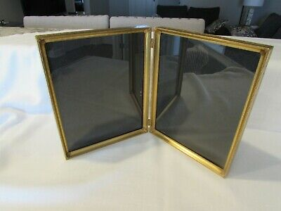 Double folding standing metal picture frame  vintage picture pair  8x10