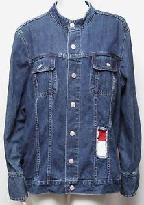 Medium Wash Denim Jacket w Tommy Hilfiger Patch Distressed