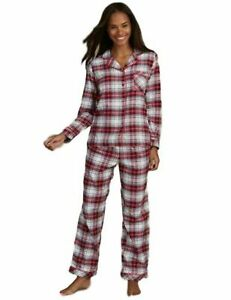M/&S 100/% Pure Cotton Check Design Revere Collar Long Sleeve Ladies Pyjamas size