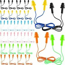 30 Pairs Or 60 Corded Ear Plugs Silicone Waterproof With Cords For Sleeping And