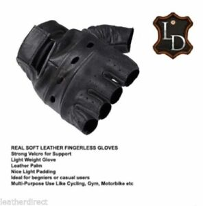 Motorcycle Leather Plain Fingerless Gloves Gym Cycling Driving Car Biker Racing