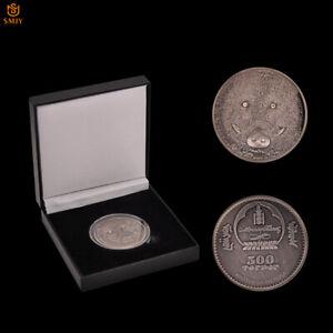 Mongolia-Wildlife-Protection-Sus-Scrofa-Antique-Silver-Souvenir-Coin-Collection