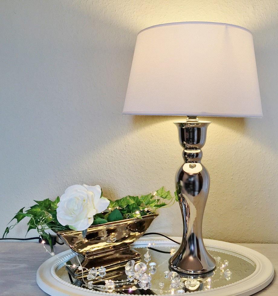 59 cm Keramik Lampe Silber WEIß Tischleuchte Tischlampe Lampenfuß KE-004TL Neu