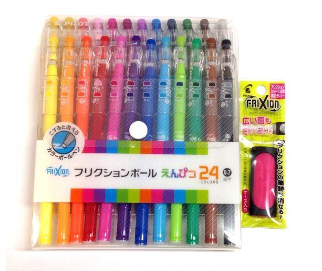NEW Pilot Erasable Ink Pen Frixion Ball Pencil 24 colors + Eraser set F/S Japan
