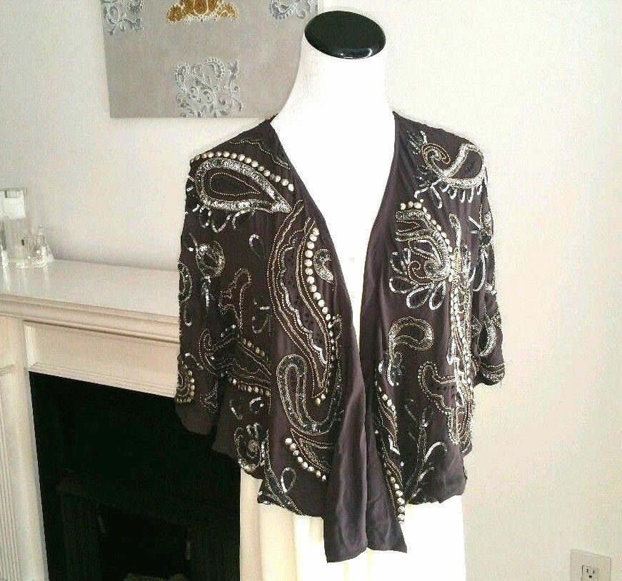 Haute Hippie Beaded Embellished Asymmetrical Cover Cardigan Top Größe Small NEW