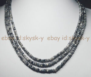 """Faceted 2x4mm Black Gray Labradorite Roundel Gems Beads  15/"""" AAA"""