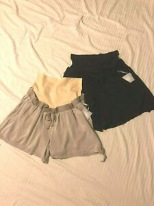 a-glow-Maternity-Shorts-Invertible-Full-Belly-Elastic-Waist-Blk-or-Tan-XL-XXL