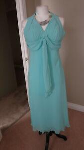 Vestido-de-noche-impresionante-GINA-BACCONI-Verde-Menta-Cuello-Halter-talla-14-Uk-Rrp-300