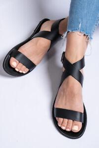 Leather handmade black Greek Sandals