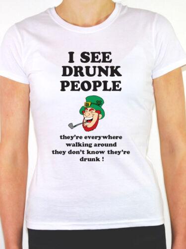 Je vois ivre PEOPLE-irlandais//st de Patrick jour//nouveauté sur le thème de t-shirt femme