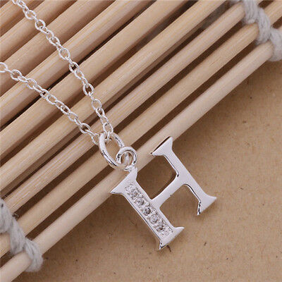 2016 Gift Solid Silver Letter A to Z Pendant + Chain Locket Lady925 Necklace