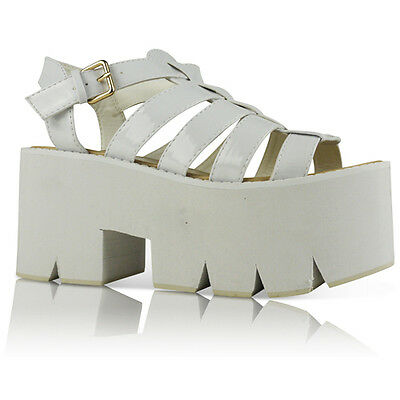 NEW WOMENS LADIES CLEATED SOLE HIGH HEEL CHUNKY PLATFORM SANDALS SHOES
