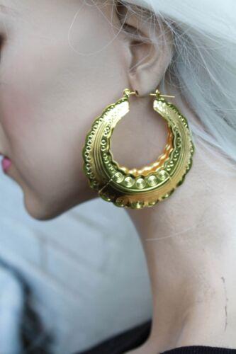 AZTEC DOOR KNOCKER ROUND GOLD TONE CREOLE HOOP LARGE EAST LONDON EARRINGS