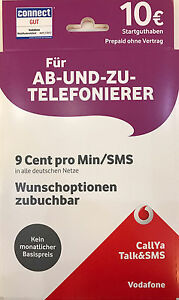 Callya Sim Karte.Details Zu Vodafone Callya Sim Karte Prepaid Tarif Talk Und Sms Inkl 10 Eur Startguthaben