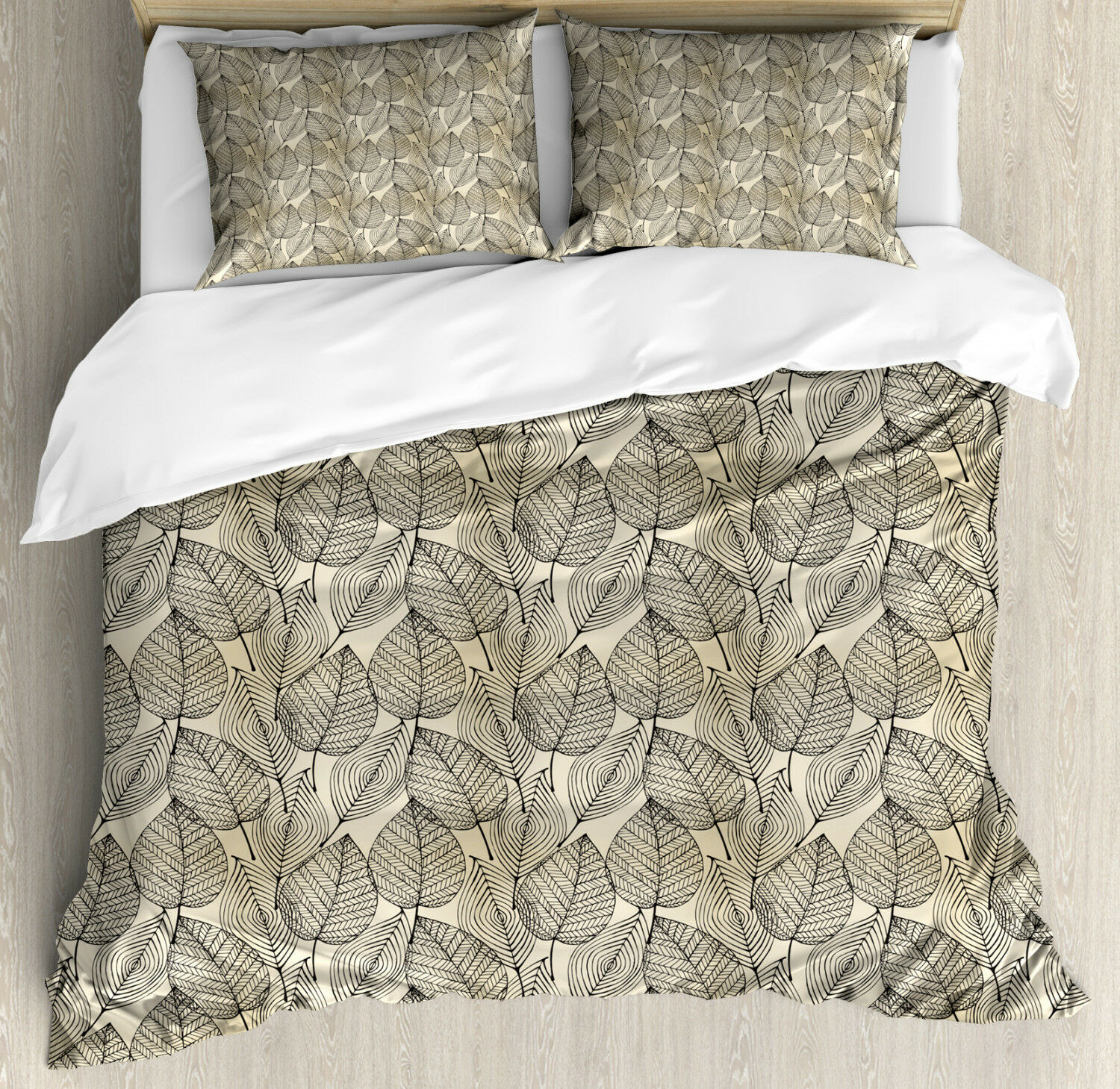 Beige Duvet Cover Set with Pillow Shams Autumn Leaves Pattern Print